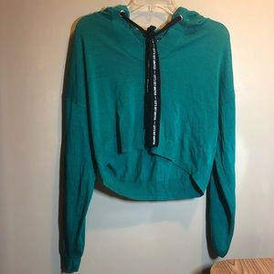 knit green cropped hoodie
